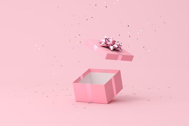 Scena minima alla moda di confezione regalo aperta e particelle di coriandoli dorati, rendering 3d.