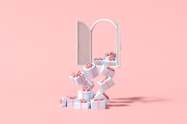 Scena minima alla moda di finestra bianca e confezione regalo che cade su sfondo rosa, rendering 3d.