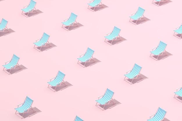 Scena minima alla moda del modello di sedie da spiaggia gialle, rendering 3d.