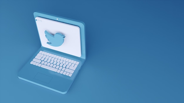 Design minimal del modello di applicazione del logo twitter semplice sul laptop in forma 3d. rendering 3d