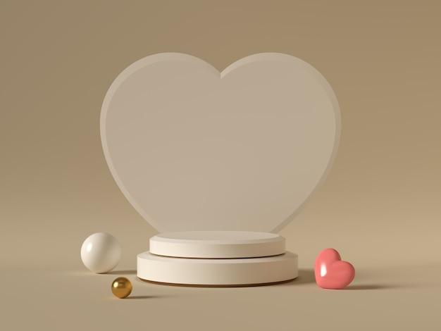 Sfondo di san valentino minimo, mock up con podio per la visualizzazione del giorno di san valentino del prodotto