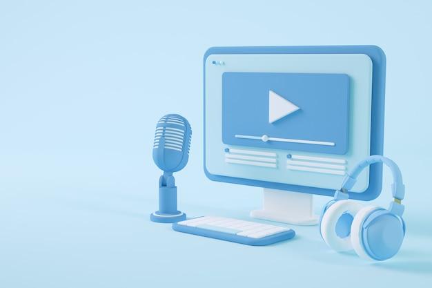 Rendering 3d di concetto di streaming video minimo