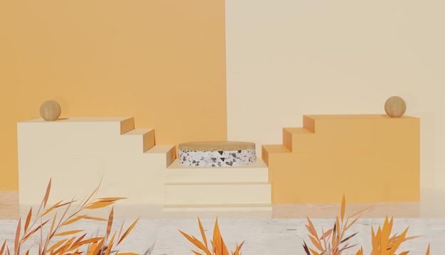 Vista minima del terrazzo e podio in legno su scale e foglie foto premium