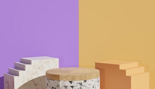 Vista minima del terrazzo e podio in legno tra le scale sul lato foto premium