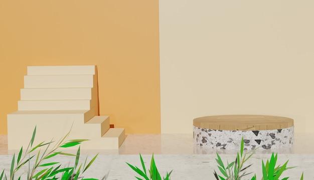 Vista minima del terrazzo e podio in legno con foglie e scale sul lato foto premium