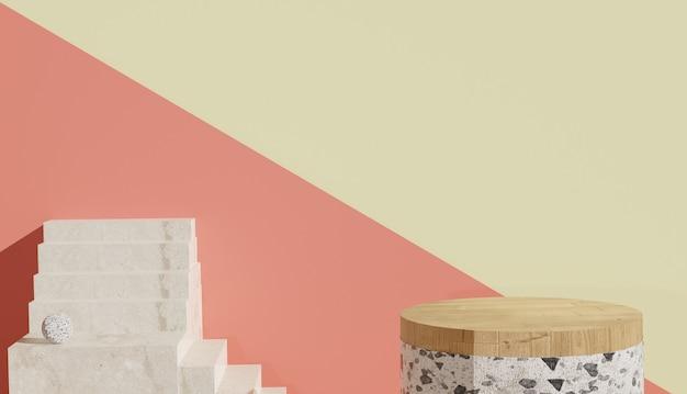 Vista minima del terrazzo e podio in legno con scale sul lato foto premium
