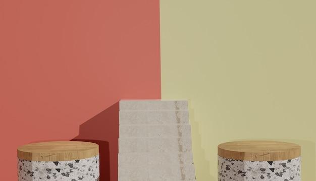 Vista minima del terrazzo e podio in legno con scale nel mezzo foto premium
