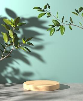 Fase di legno minima per spettacolo prodotto su pavimento di cemento e ombra di piante di luce solare su sfondo menta 3d render