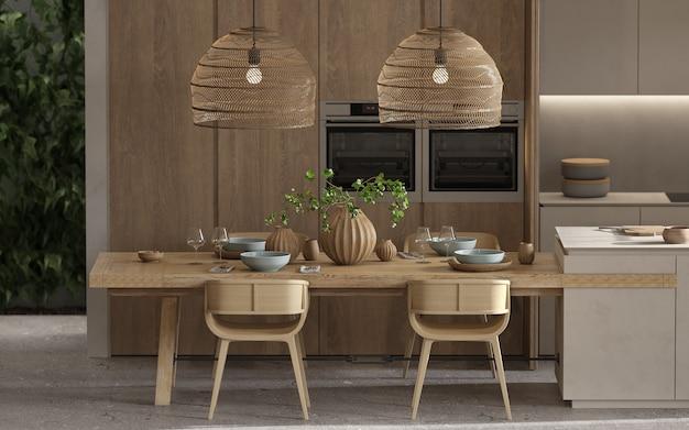 Minimalismo moderno design scandinavo interni. luminoso monolocale con soggiorno, cucina e sala da pranzo. cucina in legno con isola cucina, piante verdi e tavolo con stoviglie. rendering 3d. illustrazione 3d.