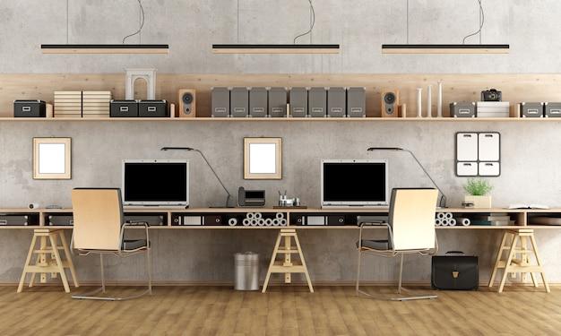 Studio di architettura minimalista con due postazioni di lavoro. rendering 3d