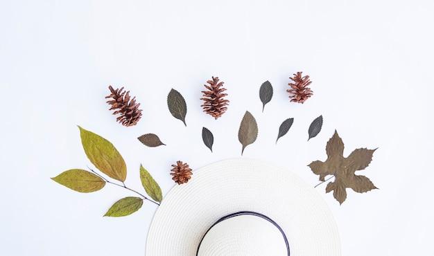 Concetto di autunno minimalista. foglie secche, fiori di pino, cappello bianco isolato su sfondo di carta bianca