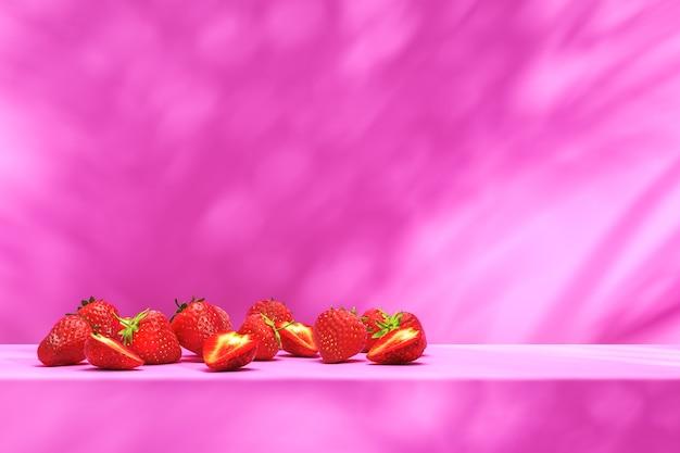 Sfondo minimalista per la presentazione del concetto di cibo, fragola sul podio rosa e ombrellone sul muro. rendering 3d