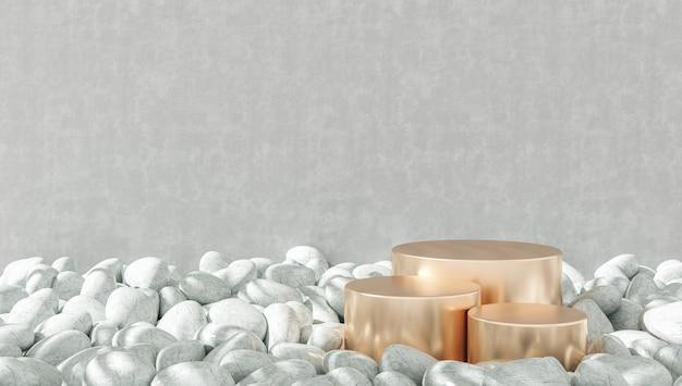 Sfondo minimalista per la presentazione del prodotto, tre podi in oro champagne su ghiaie bianche, sfondo grigio muro di cemento. rendering 3d