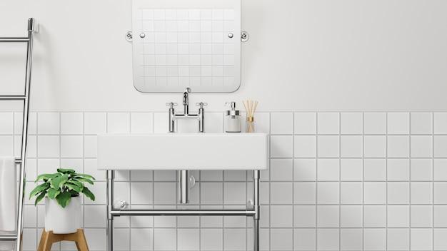 Interior design minimalista del bagno o della toletta con il lavabo moderno, lo specchio, la scala, la pianta dell'interno e la parete bianca, rappresentazione 3d, illustrazione 3d