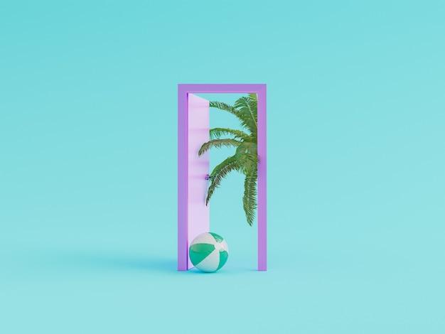 Porta minimalista con pallone da spiaggia e palma che spuntano nel concetto di vacanza estiva. rendering 3d