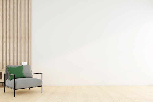Stanza vuota minimalista con poltrona e muro bianco. rendering 3d