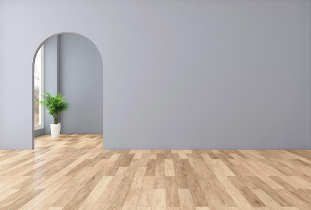 Stanza vuota minimalista con muro grigio e porta ad arco