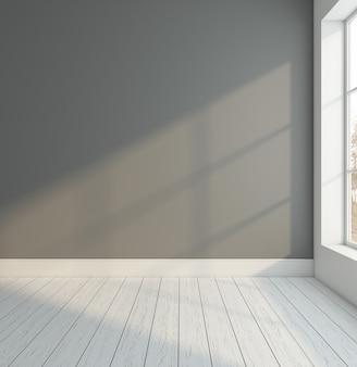 Stanza vuota minimalista con muro grigio e pavimento in legno bianco rendering 3d