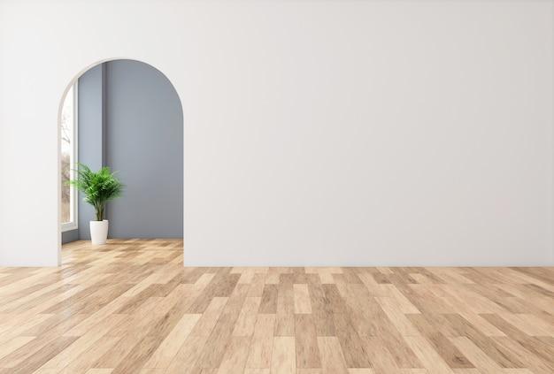 Stanza vuota minimalista con muro bianco e porta ad arco