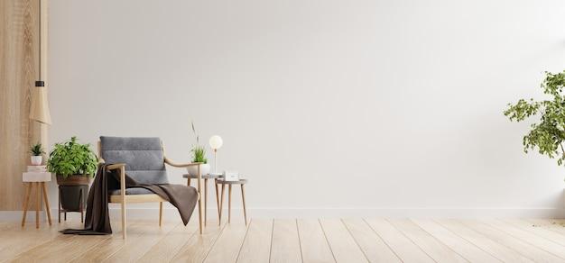Interni minimalisti del soggiorno con poltrona di design e tavolo su parete bianca. rendering 3d