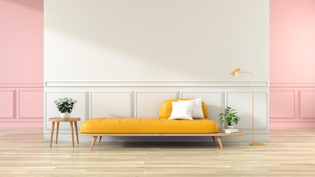 Interiore minimalista del salone, sofà giallo sulla pavimentazione di legno e sulla parete bianca