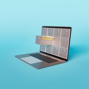 Mockup di laptop minimalista con cassetti per documenti che escono dallo schermo