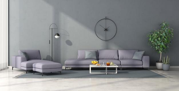 Soggiorno minimalista con mobili lilla