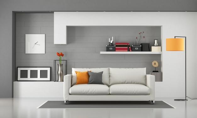 Soggiorno minimalista con divano moderno e mensole. rendering 3d