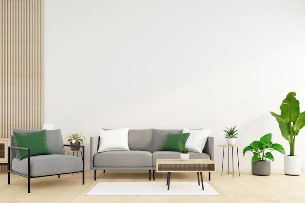 Soggiorno minimalista con divano e poltrona tavolino e rendering 3d di piante verdi