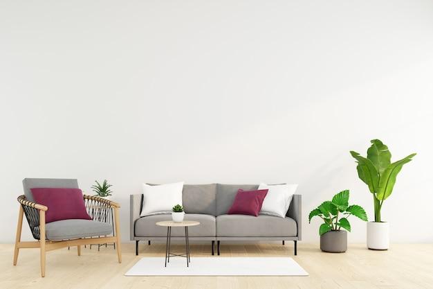 Soggiorno minimalista con divano e poltrona, parete bianca e pianta verde. rendering 3d