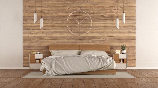 Camera da letto minimalista con letto matrimoniale in legno