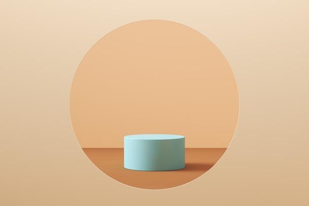 Sfondo mockup minimalista per la presentazione del prodotto, il podio del cilindro blu in uno spazio circolare, stile color pastello. rendering 3d