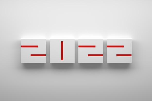 Capodanno minimalista con grandi numeri geometrici quadrati