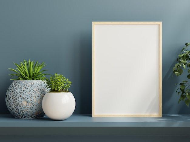 Mockup di poster minimalista con pianta, parete blu scuro e mensola. rendering 3d