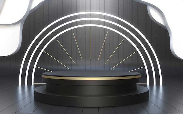 Palcoscenico nero realistico minimalista per l'esposizione del prodotto