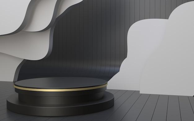 Palcoscenico minimalista realistico per l'esposizione del prodotto con sfondo di cartone ondulato nuvola