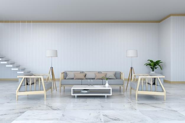 L'interior design minimalista della stanza, la poltrona di legno e il sofà sul pavimento di marmo e sulla stanza bianca / 3d rendono