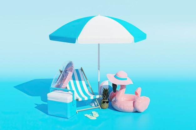 Scena minimalista di accessori da spiaggia con sfondo sfumato