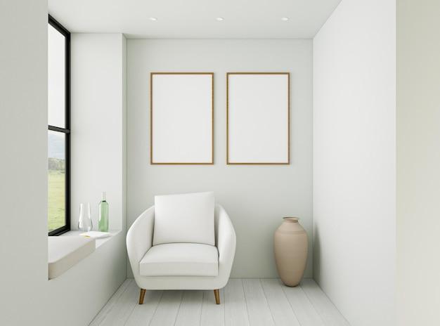 Interni minimalisti con elegante poltrona