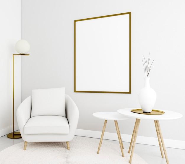 Interni minimalisti con elegante cornice e poltrona