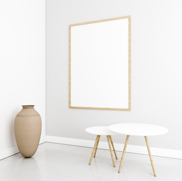 Interni minimalisti con elegante cornice e tavoli