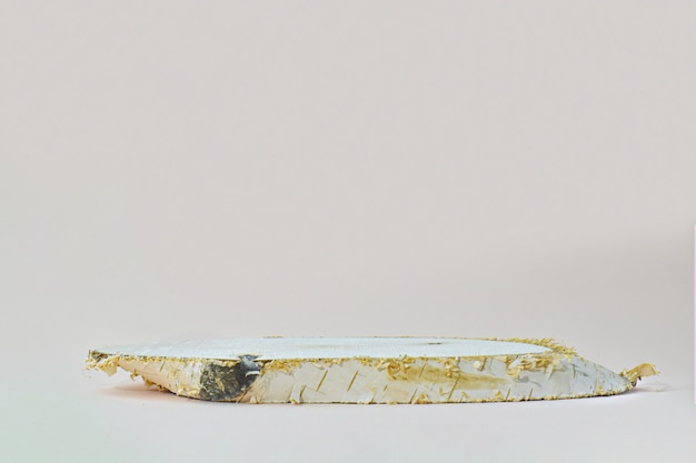 Una scena minimalista di un albero abbattuto giace su una superficie beige naturale