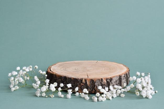 Una scena minimalista di un albero abbattuto giace con fiori su uno sfondo naturale.