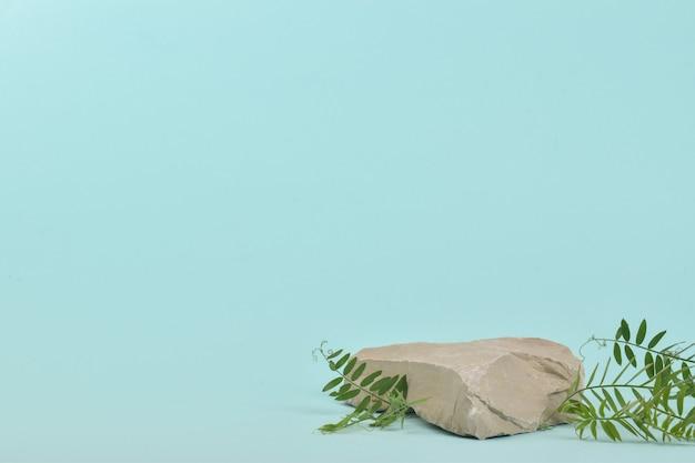 Una scena minimalista di una pietra sdraiata con una pianta su sfondo blu. un podio per la presentazione di merci e cosmetici. una vetrina con un palcoscenico per i prodotti naturali. eco.