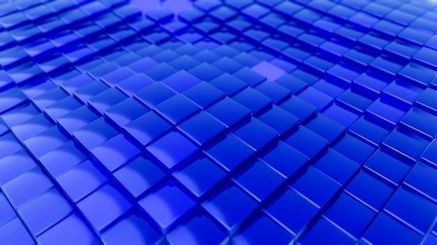 Modello di onde minimalista fatto di cubi. astratto sfondo futuristico superficie ondeggiante cubica blu. 3d render illustrazione.