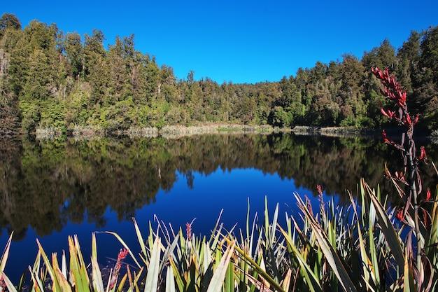 Mirror lake sull'isola del sud della nuova zelanda