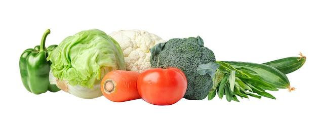 Mescolare le verdure per una buona salute e perdere peso meno calorie su sfondo bianco