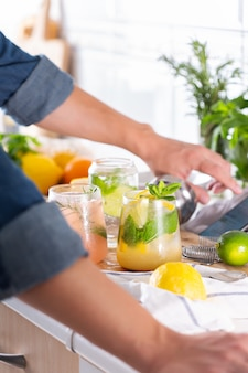 Mixologist che prepara cocktail rinfrescanti con seltz duro a casa