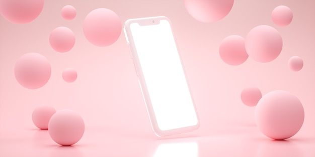 Mobile 3d rendering fase display sfondo mockup rosa