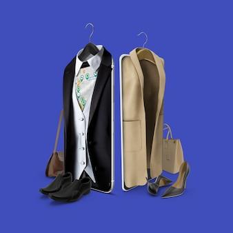 Applicazione mobile per l'acquisto di abbigliamento da uomo e da donna con una mappa per il negozio online e di persona